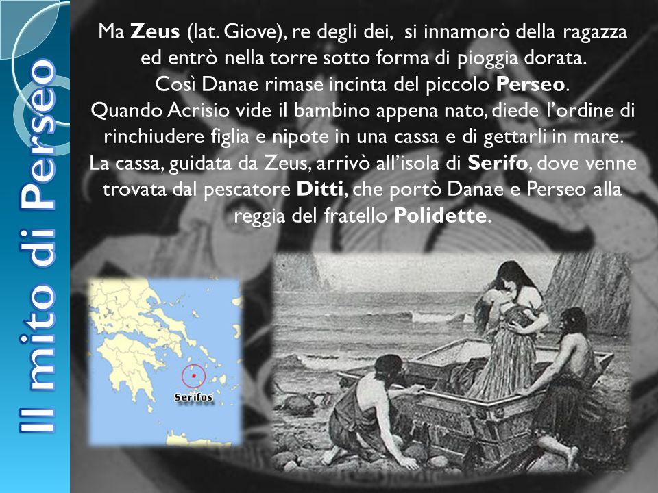 Ma Zeus (lat. Giove), re degli dei, si innamorò della ragazza ed entrò nella torre sotto forma di pioggia dorata. Così Danae rimase incinta del piccol