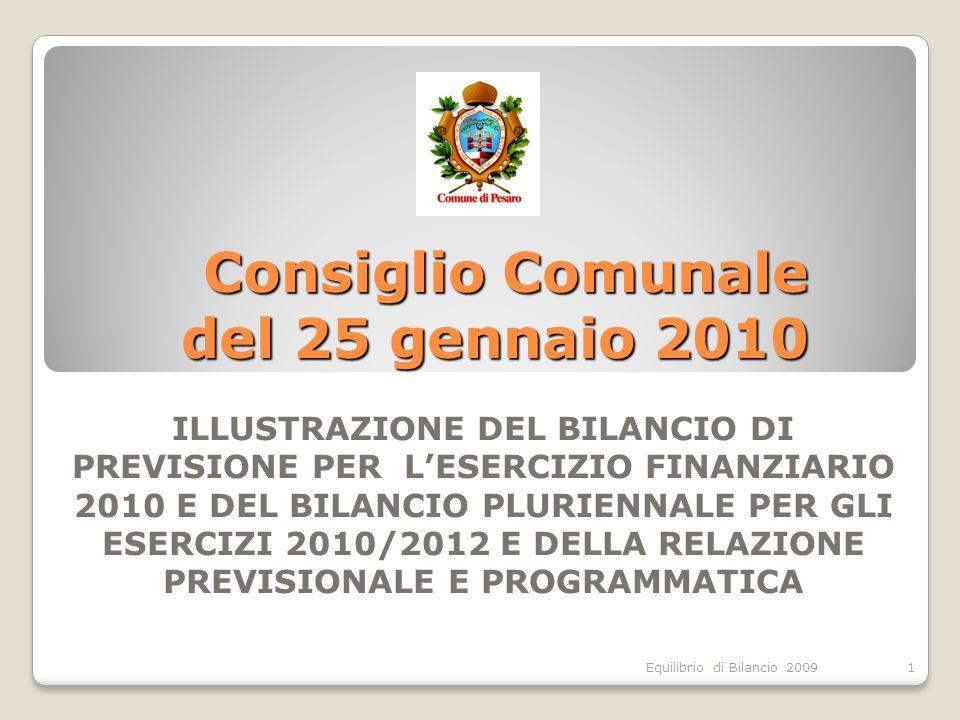 Equilibrio di Bilancio 2009 Consiglio Comunale del 25 gennaio 2010 ILLUSTRAZIONE DEL BILANCIO DI PREVISIONE PER LESERCIZIO FINANZIARIO 2010 E DEL BILANCIO PLURIENNALE PER GLI ESERCIZI 2010/2012 E DELLA RELAZIONE PREVISIONALE E PROGRAMMATICA 1