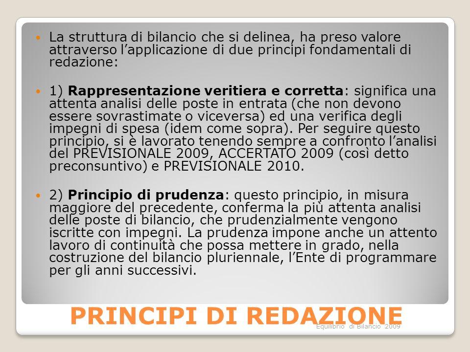 Equilibrio di Bilancio 2009 PRINCIPI DI REDAZIONE La struttura di bilancio che si delinea, ha preso valore attraverso lapplicazione di due principi fo