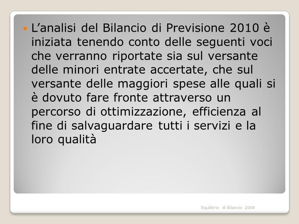 Equilibrio di Bilancio 2009 Lanalisi del Bilancio di Previsione 2010 è iniziata tenendo conto delle seguenti voci che verranno riportate sia sul versa