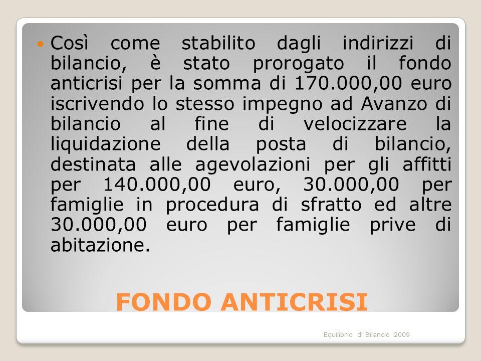 Equilibrio di Bilancio 2009 FONDO ANTICRISI Così come stabilito dagli indirizzi di bilancio, è stato prorogato il fondo anticrisi per la somma di 170.