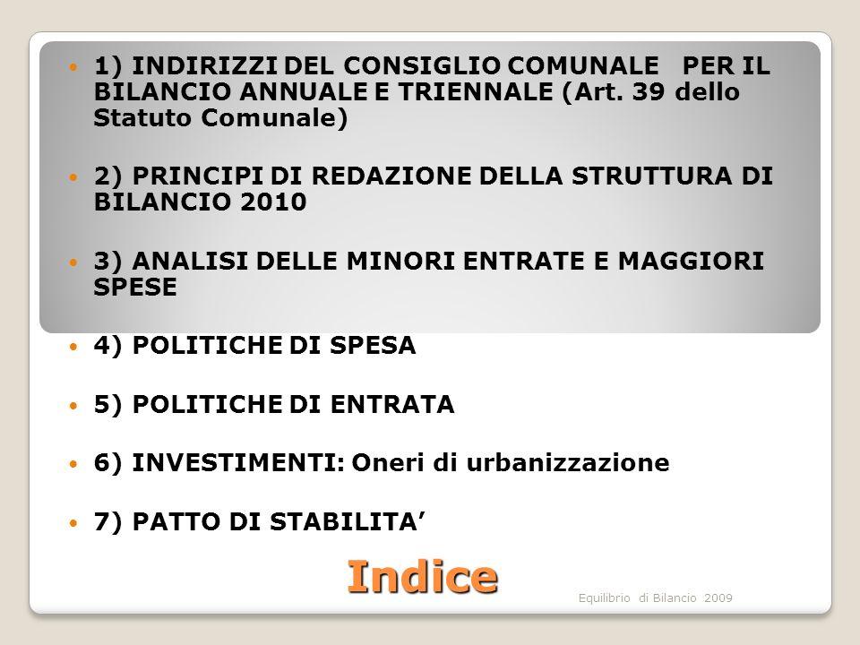 Equilibrio di Bilancio 2009 1)INDIRIZZI DEL CONSIGLIO COMUNALE PER IL BILANCIO ANNUALE E TRIENNALE (ai sensi dellArt.