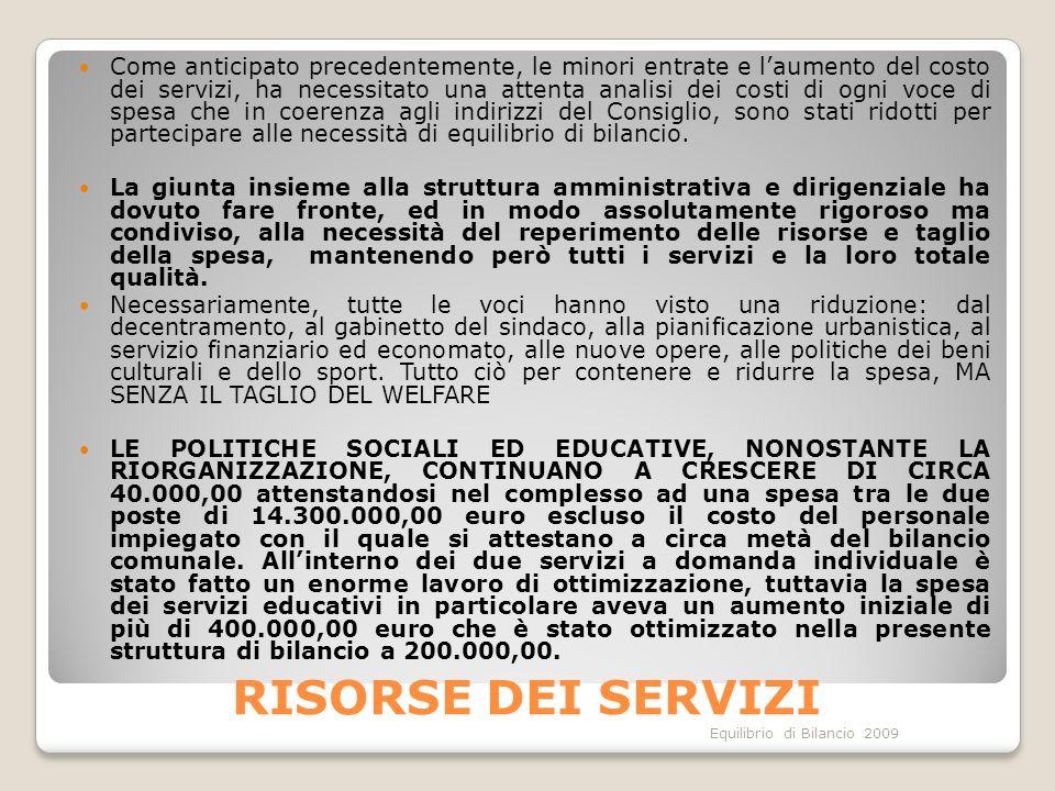 Equilibrio di Bilancio 2009 RISORSE DEI SERVIZI Come anticipato precedentemente, le minori entrate e laumento del costo dei servizi, ha necessitato un