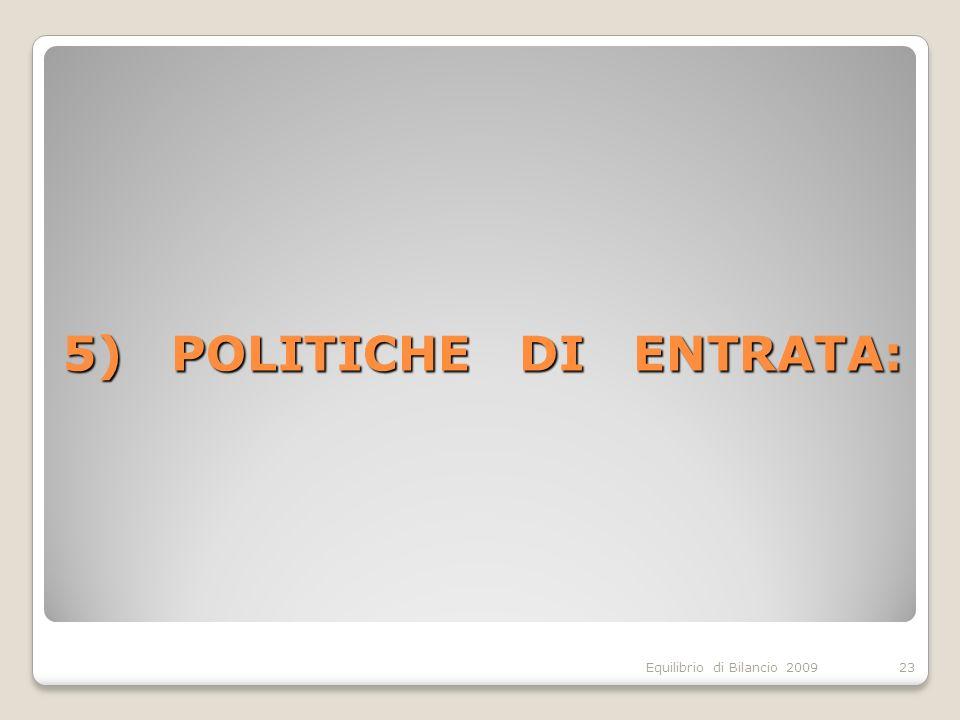 Equilibrio di Bilancio 2009 5) POLITICHE DI ENTRATA: 23