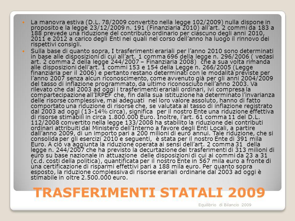 Equilibrio di Bilancio 2009 TRASFERIMENTI STATALI 2009 La manovra estiva (D.L. 78/2009 convertito nella legge 102/2009) nulla dispone in proposito e l