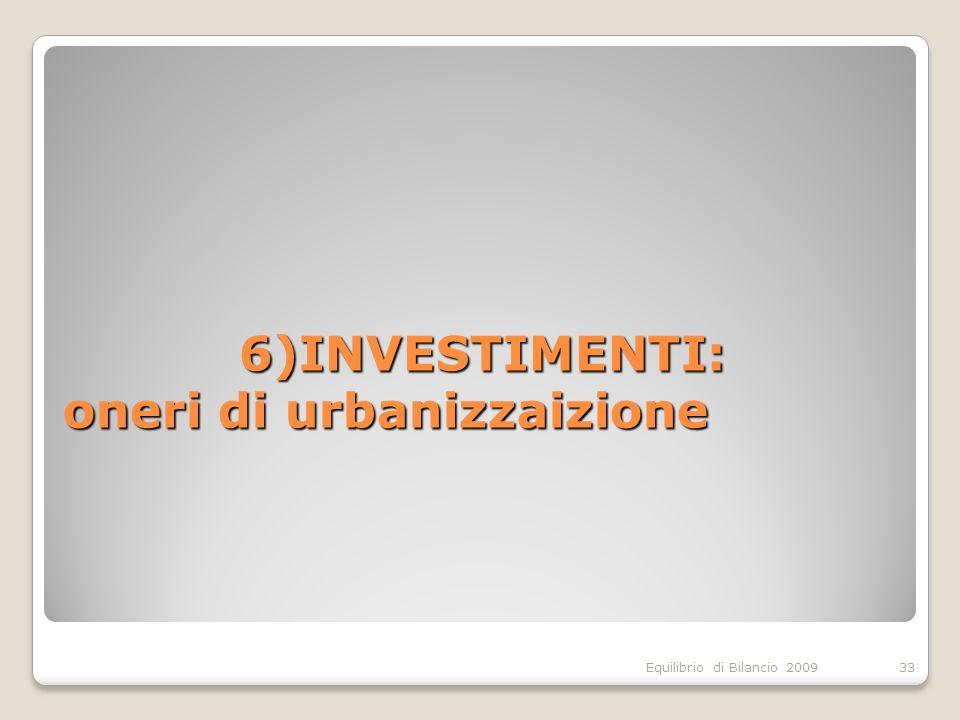 Equilibrio di Bilancio 2009 6)INVESTIMENTI: oneri di urbanizzaizione 33