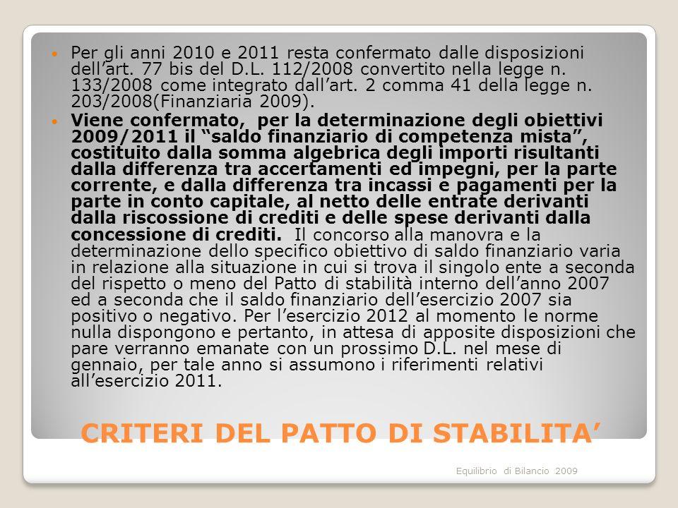 Equilibrio di Bilancio 2009 CRITERI DEL PATTO DI STABILITA Per gli anni 2010 e 2011 resta confermato dalle disposizioni dellart. 77 bis del D.L. 112/2