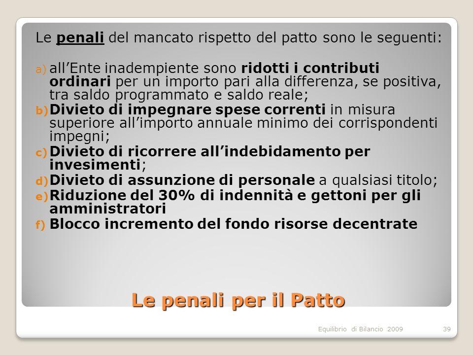 Equilibrio di Bilancio 2009 Le penali per il Patto Le penali del mancato rispetto del patto sono le seguenti: a) allEnte inadempiente sono ridotti i c