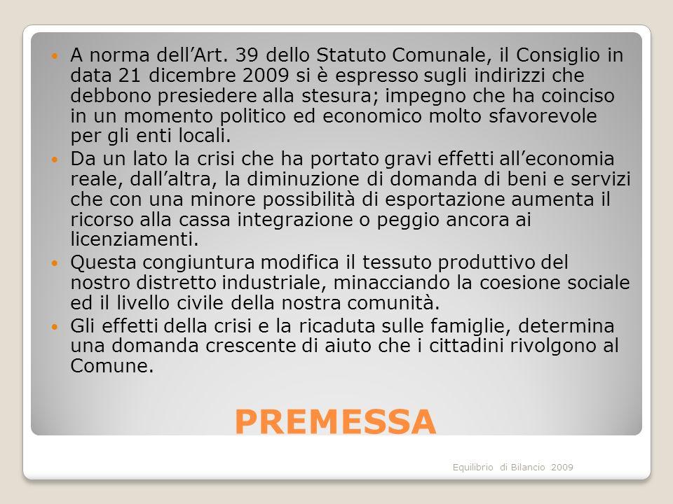 Equilibrio di Bilancio 2009 PREMESSA A norma dellArt.