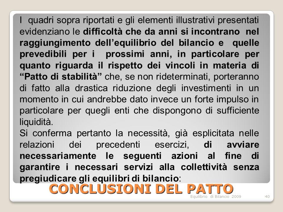 Equilibrio di Bilancio 2009 CONCLUSIONI DEL PATTO 40 I quadri sopra riportati e gli elementi illustrativi presentati evidenziano le difficoltà che da