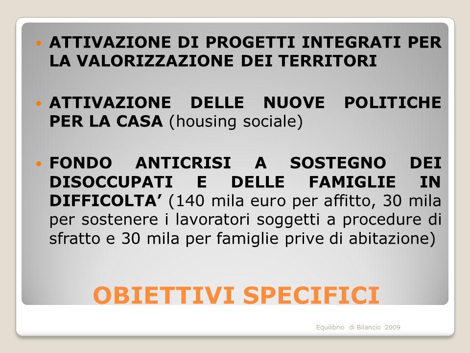 Equilibrio di Bilancio 2009 OBIETTIVI SPECIFICI ATTIVAZIONE DI PROGETTI INTEGRATI PER LA VALORIZZAZIONE DEI TERRITORI ATTIVAZIONE DELLE NUOVE POLITICHE PER LA CASA (housing sociale) FONDO ANTICRISI A SOSTEGNO DEI DISOCCUPATI E DELLE FAMIGLIE IN DIFFICOLTA (140 mila euro per affitto, 30 mila per sostenere i lavoratori soggetti a procedure di sfratto e 30 mila per famiglie prive di abitazione)