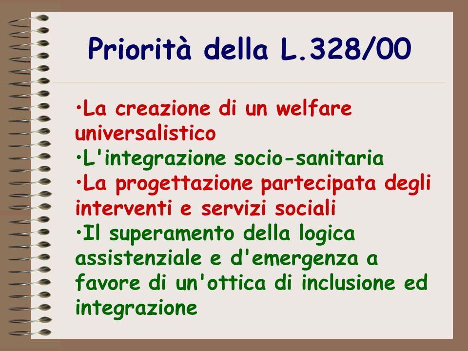 Priorità della L.328/00 La creazione di un welfare universalistico L'integrazione socio-sanitaria La progettazione partecipata degli interventi e serv