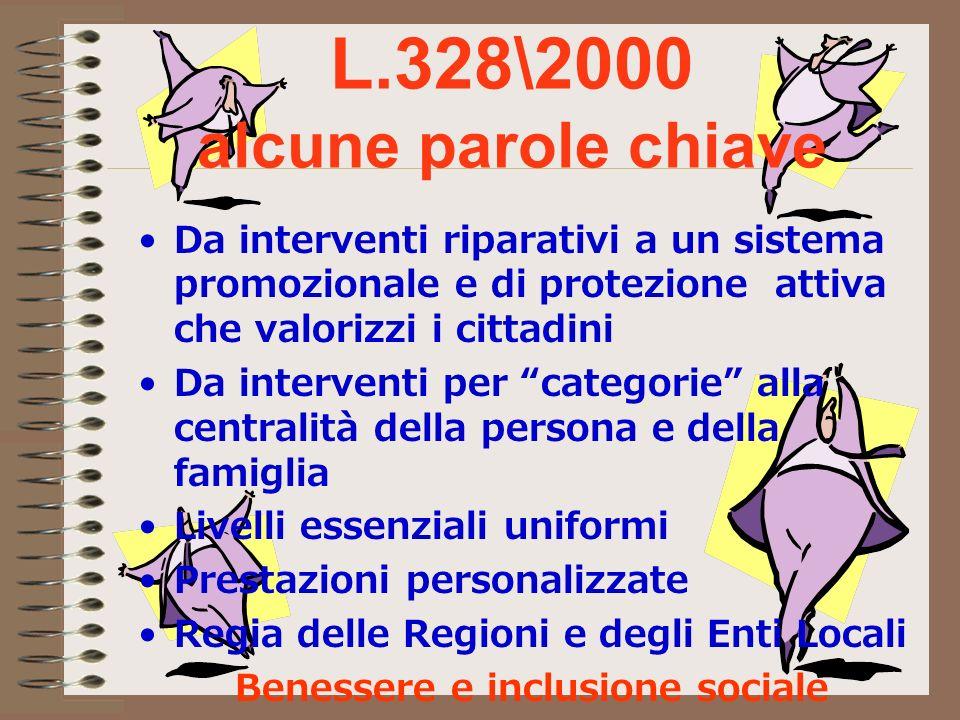 L.328\2000 alcune parole chiave Da interventi riparativi a un sistema promozionale e di protezione attiva che valorizzi i cittadini Da interventi per