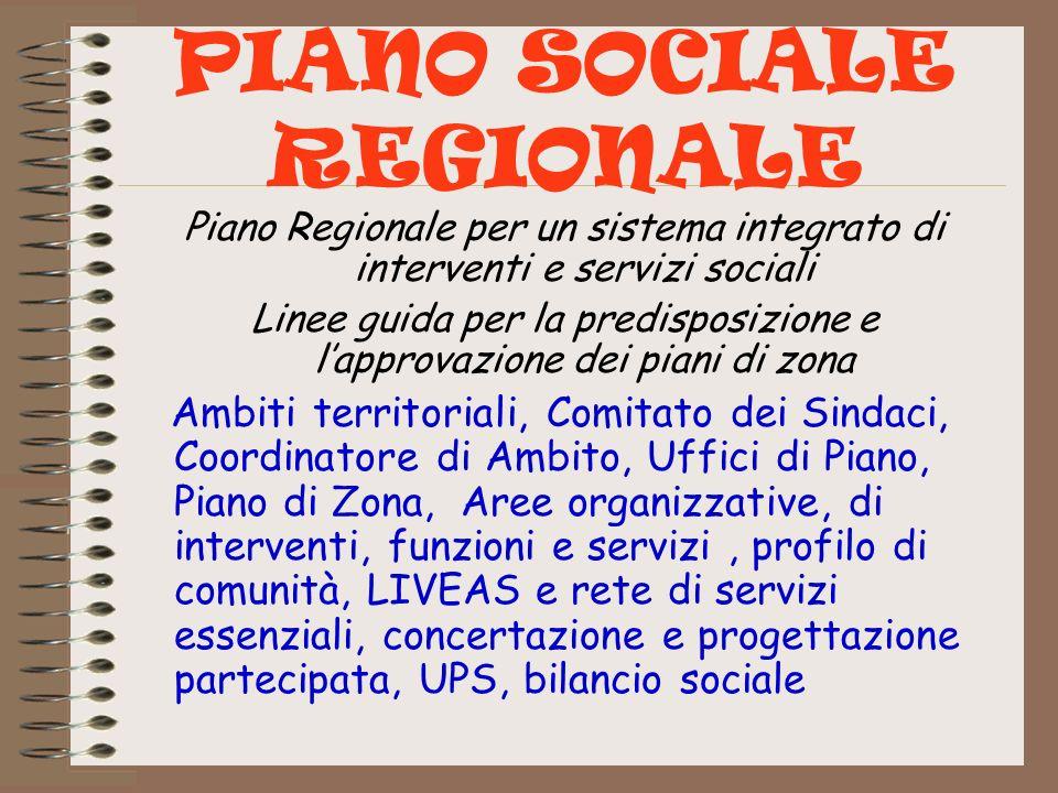 PIANO SOCIALE REGIONALE Piano Regionale per un sistema integrato di interventi e servizi sociali Linee guida per la predisposizione e lapprovazione de