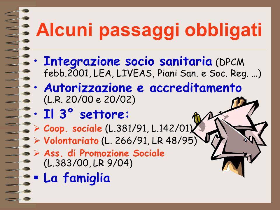 Alcuni passaggi obbligati Integrazione socio sanitaria (DPCM febb.2001, LEA, LIVEAS, Piani San. e Soc. Reg. …) Autorizzazione e accreditamento (L.R. 2
