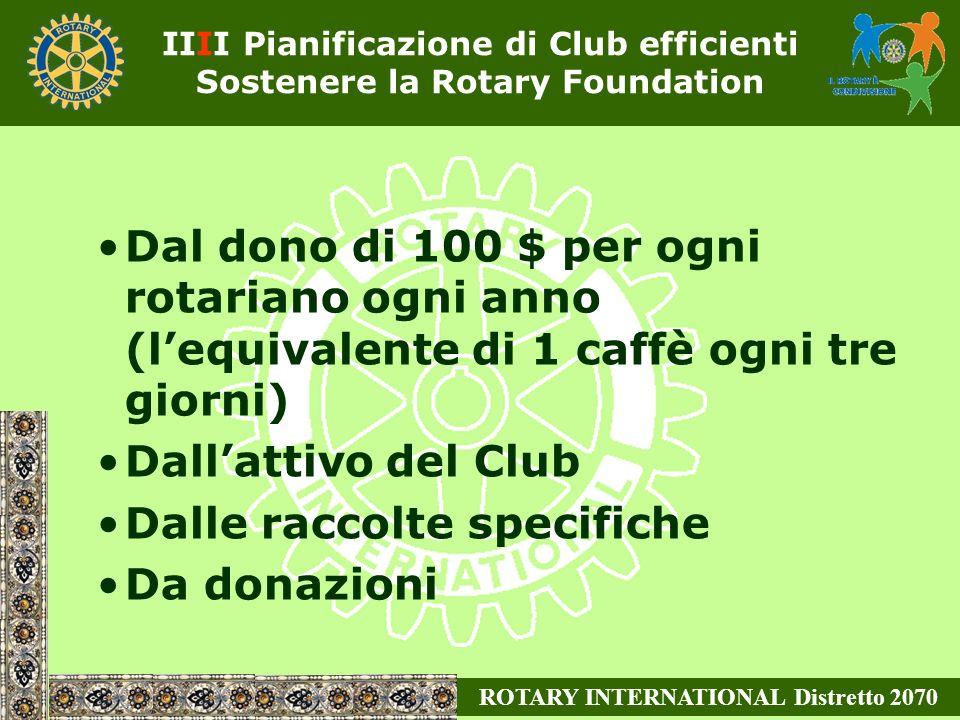 Dal dono di 100 $ per ogni rotariano ogni anno (lequivalente di 1 caffè ogni tre giorni) Dallattivo del Club Dalle raccolte specifiche Da donazioni ROTARY INTERNATIONAL Distretto 2070 IIII Pianificazione di Club efficienti Sostenere la Rotary Foundation