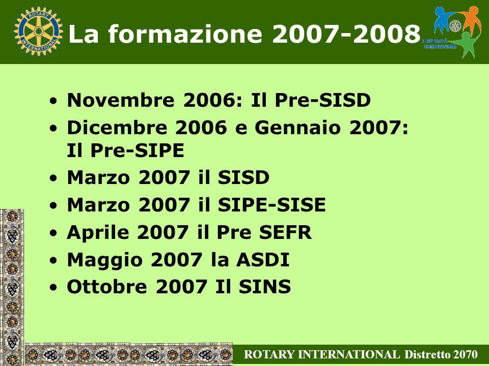 La formazione 2007-2008 Novembre 2006: Il Pre-SISD Dicembre 2006 e Gennaio 2007: Il Pre-SIPE Marzo 2007 il SISD Marzo 2007 il SIPE-SISE Aprile 2007 il Pre SEFR Maggio 2007 la ASDI Ottobre 2007 Il SINS ROTARY INTERNATIONAL Distretto 2070