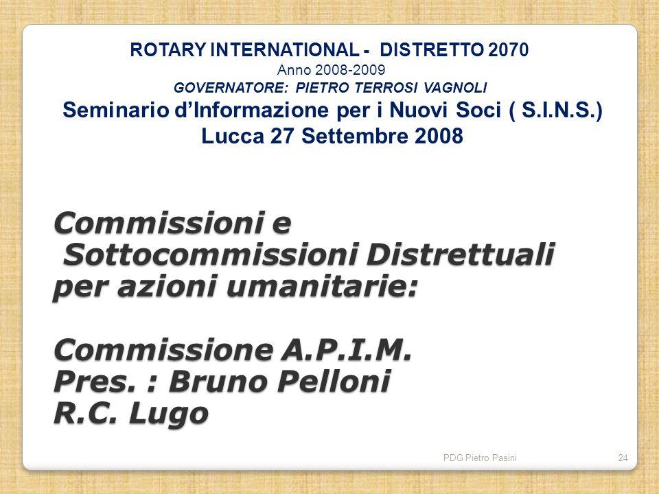 PDG Pietro Pasini24 Commissioni e Sottocommissioni Distrettuali per azioni umanitarie: Commissione A.P.I.M. Pres. : Bruno Pelloni R.C. Lugo ROTARY INT