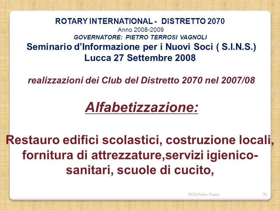 PDG Pietro Pasini35 ROTARY INTERNATIONAL - DISTRETTO 2070 Anno 2008-2009 GOVERNATORE: PIETRO TERROSI VAGNOLI Seminario dInformazione per i Nuovi Soci