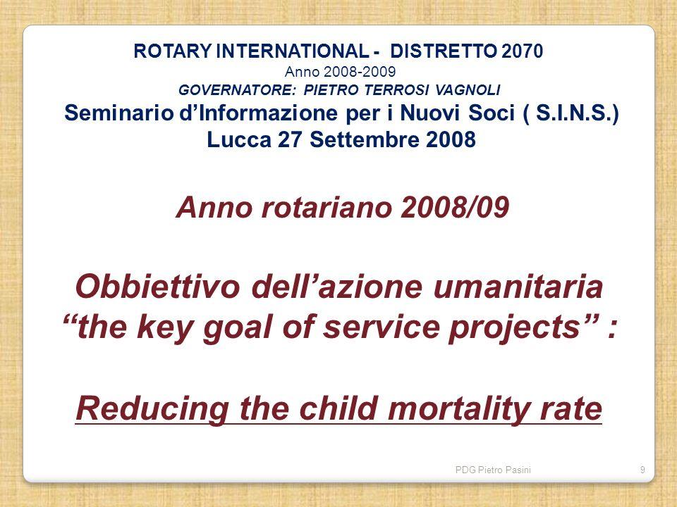 PDG Pietro Pasini9 ROTARY INTERNATIONAL - DISTRETTO 2070 Anno 2008-2009 GOVERNATORE: PIETRO TERROSI VAGNOLI Seminario dInformazione per i Nuovi Soci (