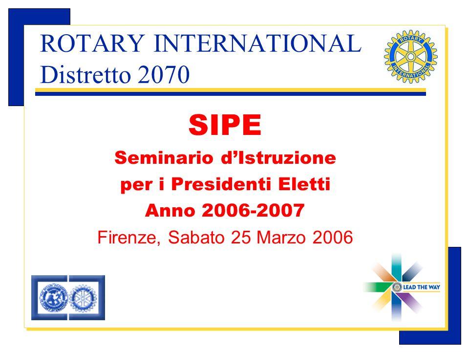 Carlo Michelotti, Gov.Distr.1980 (1996/97) ROTARY INTERNATIONAL Distretto 2070 SIPE Seminario dIstruzione per i Presidenti Eletti Anno 2006-2007 Firenze, Sabato 25 Marzo 2006