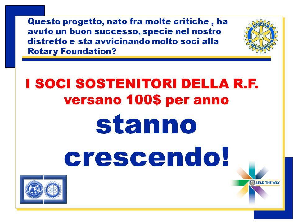 Carlo Michelotti, Gov.Distr.1980 (1996/97) Questo progetto, nato fra molte critiche, ha avuto un buon successo, specie nel nostro distretto e sta avvicinando molto soci alla Rotary Foundation.