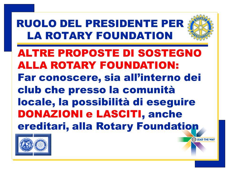 Carlo Michelotti, Gov.Distr.1980 (1996/97) RUOLO DEL PRESIDENTE PER LA ROTARY FOUNDATION ALTRE PROPOSTE DI SOSTEGNO ALLA ROTARY FOUNDATION: Far conoscere, sia allinterno dei club che presso la comunità locale, la possibilità di eseguire DONAZIONI e LASCITI, anche ereditari, alla Rotary Foundation