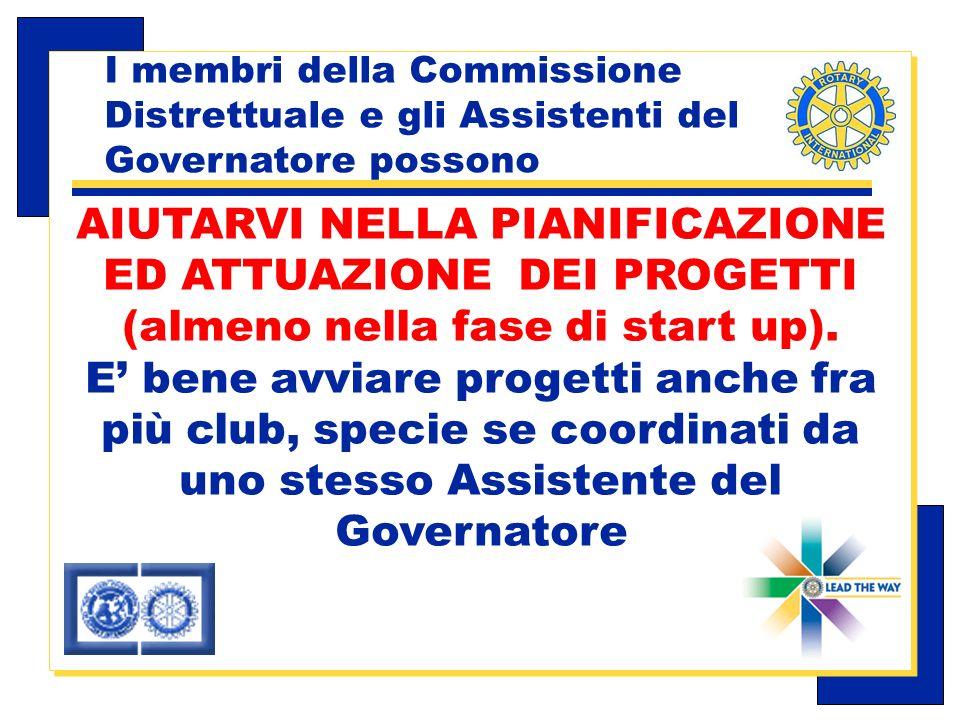 Carlo Michelotti, Gov.Distr.1980 (1996/97) I membri della Commissione Distrettuale e gli Assistenti del Governatore possono AIUTARVI NELLA PIANIFICAZIONE ED ATTUAZIONE DEI PROGETTI (almeno nella fase di start up).