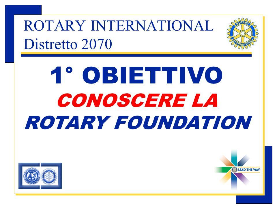 Carlo Michelotti, Gov.Distr.1980 (1996/97) 1° OBIETTIVO CONOSCERE LA ROTARY FOUNDATION ROTARY INTERNATIONAL Distretto 2070