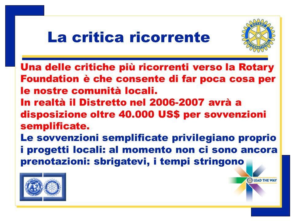 Carlo Michelotti, Gov.Distr.1980 (1996/97) Una delle critiche più ricorrenti verso la Rotary Foundation è che consente di far poca cosa per le nostre comunità locali.
