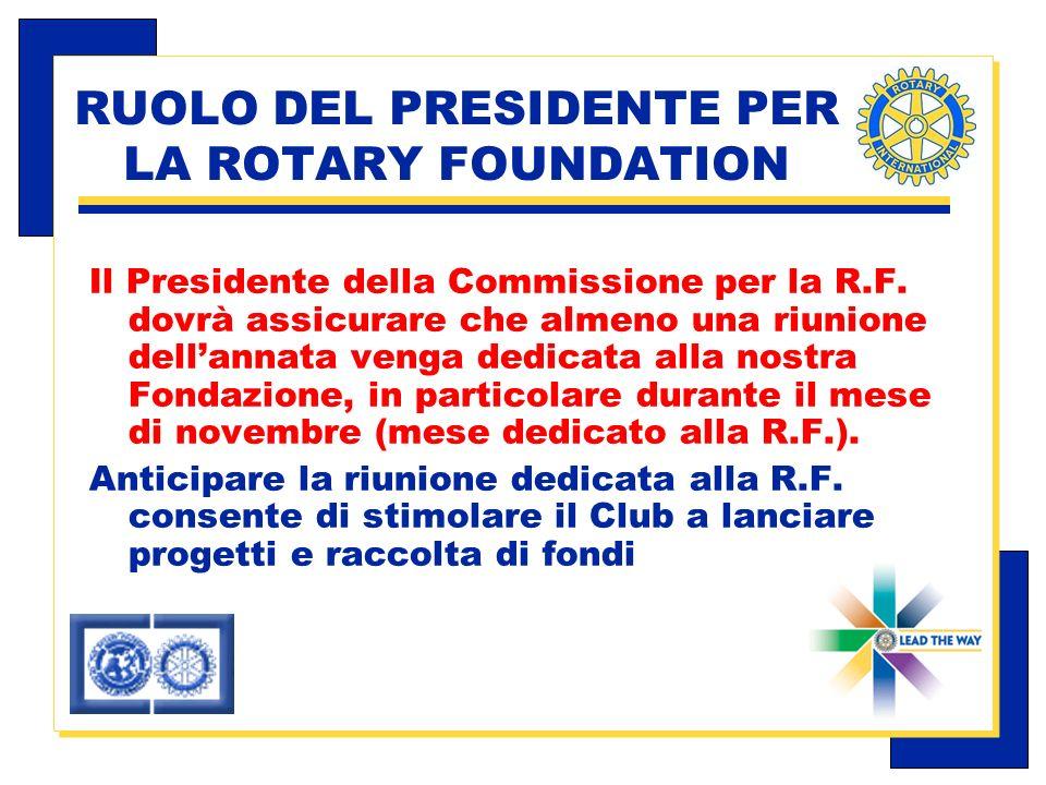Carlo Michelotti, Gov.Distr.1980 (1996/97) RUOLO DEL PRESIDENTE PER LA ROTARY FOUNDATION Il Presidente della Commissione per la R.F.