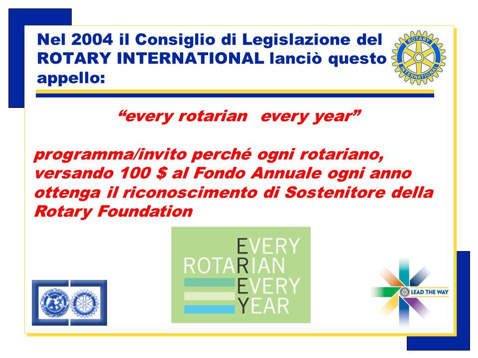 Carlo Michelotti, Gov.Distr.1980 (1996/97) Nel 2004 il Consiglio di Legislazione del ROTARY INTERNATIONAL lanciò questo appello: every rotarian every year programma/invito perché ogni rotariano, versando 100 $ al Fondo Annuale ogni anno ottenga il riconoscimento di Sostenitore della Rotary Foundation