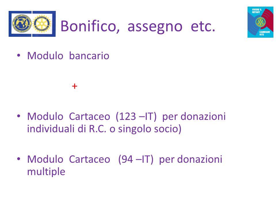 Rotary Club e progetti A.P.I.M.Bonifico, assegno etc.