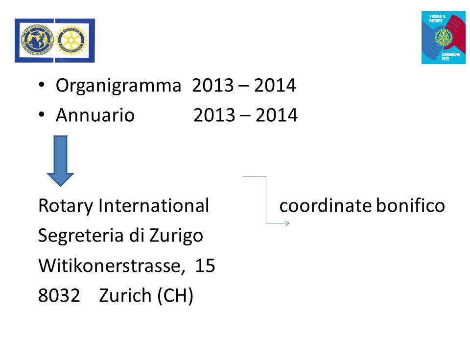 Organigramma 2013 – 2014 Annuario 2013 – 2014 Rotary International coordinate bonifico Segreteria di Zurigo Witikonerstrasse, 15 8032 Zurich (CH)