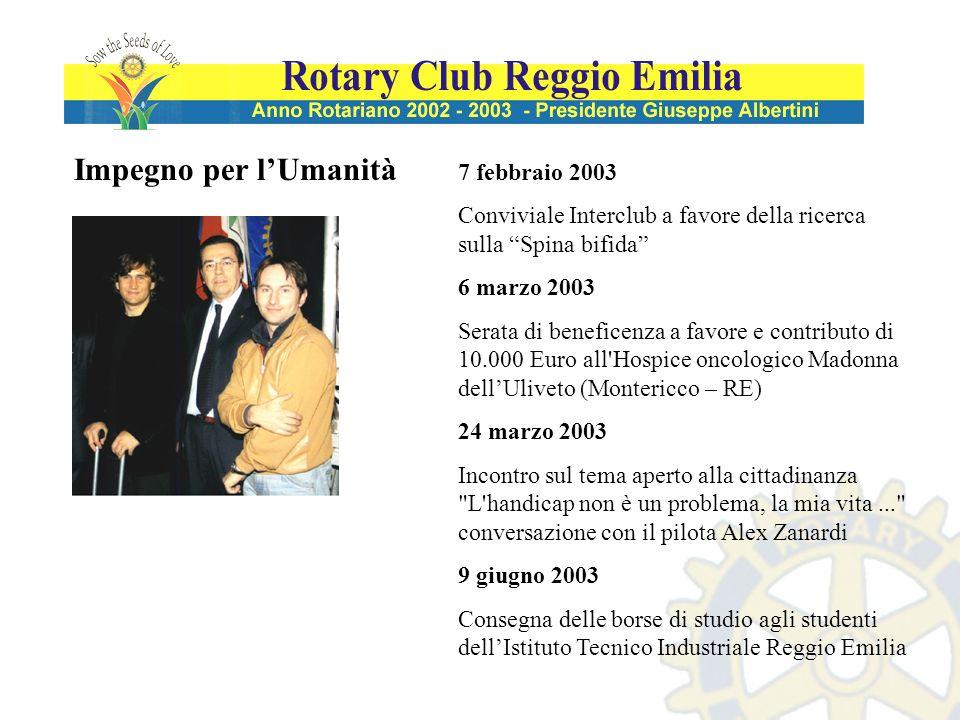 Impegno per lUmanità 7 febbraio 2003 Conviviale Interclub a favore della ricerca sulla Spina bifida 6 marzo 2003 Serata di beneficenza a favore e cont