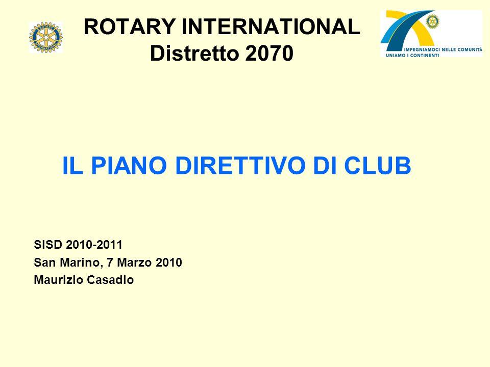 ROTARY INTERNATIONAL Distretto 2070 CHE COSA E: Il piano direttivo di club è la struttura amministrativa consigliata per i Rotary club, basata sulle migliori prassi dei club efficienti