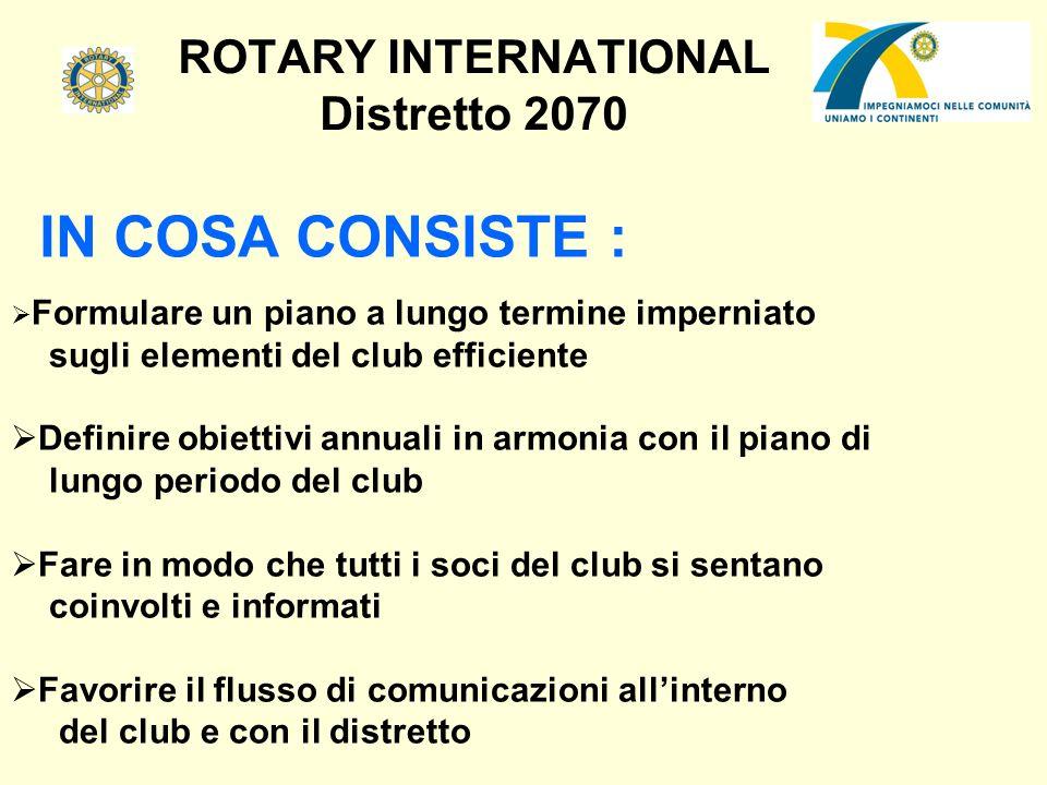 ROTARY INTERNATIONAL Distretto 2070 IN COSA CONSISTE : Formulare un piano a lungo termine imperniato sugli elementi del club efficiente Definire obiet