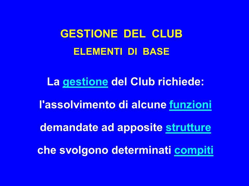 GESTIONE DEL CLUB ELEMENTI DI BASE La gestione del Club richiede: l assolvimento di alcune funzioni demandate ad apposite strutture che svolgono determinati compiti