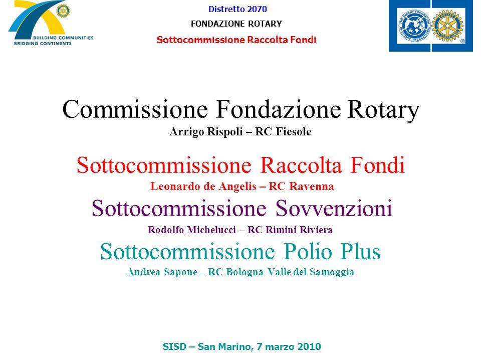 Commissione Fondazione Rotary Arrigo Rispoli – RC Fiesole Sottocommissione Raccolta Fondi Leonardo de Angelis – RC Ravenna Sottocommissione Sovvenzion