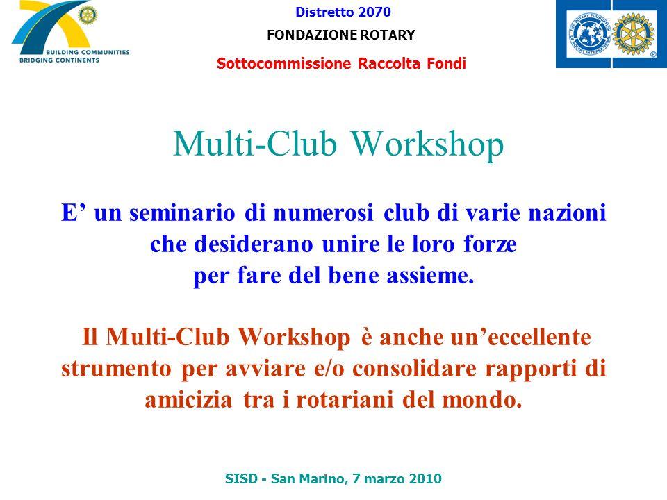 Multi-Club Workshop E un seminario di numerosi club di varie nazioni che desiderano unire le loro forze per fare del bene assieme. Il Multi-Club Works