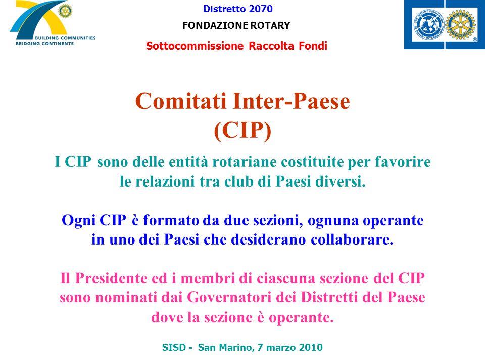 Comitati Inter-Paese (CIP) I CIP sono delle entità rotariane costituite per favorire le relazioni tra club di Paesi diversi. Ogni CIP è formato da due