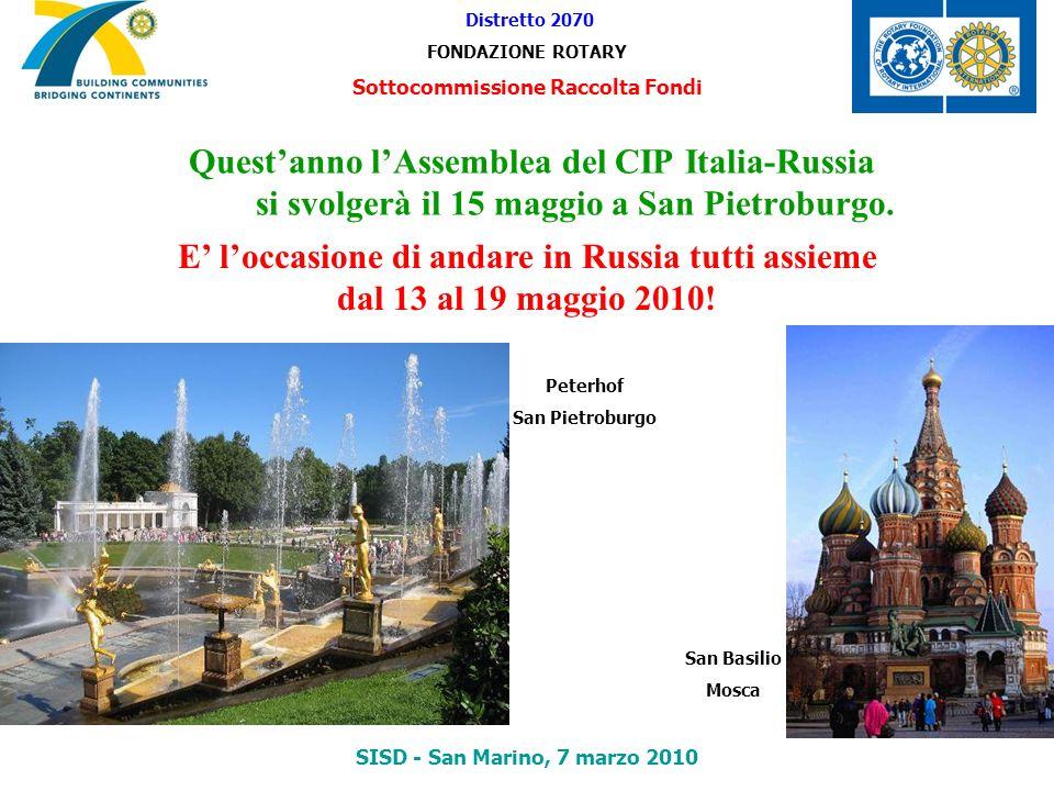 Questanno lAssemblea del CIP Italia-Russia si svolgerà il 15 maggio a San Pietroburgo. Distretto 2070 FONDAZIONE ROTARY Sottocommissione Raccolta Fond