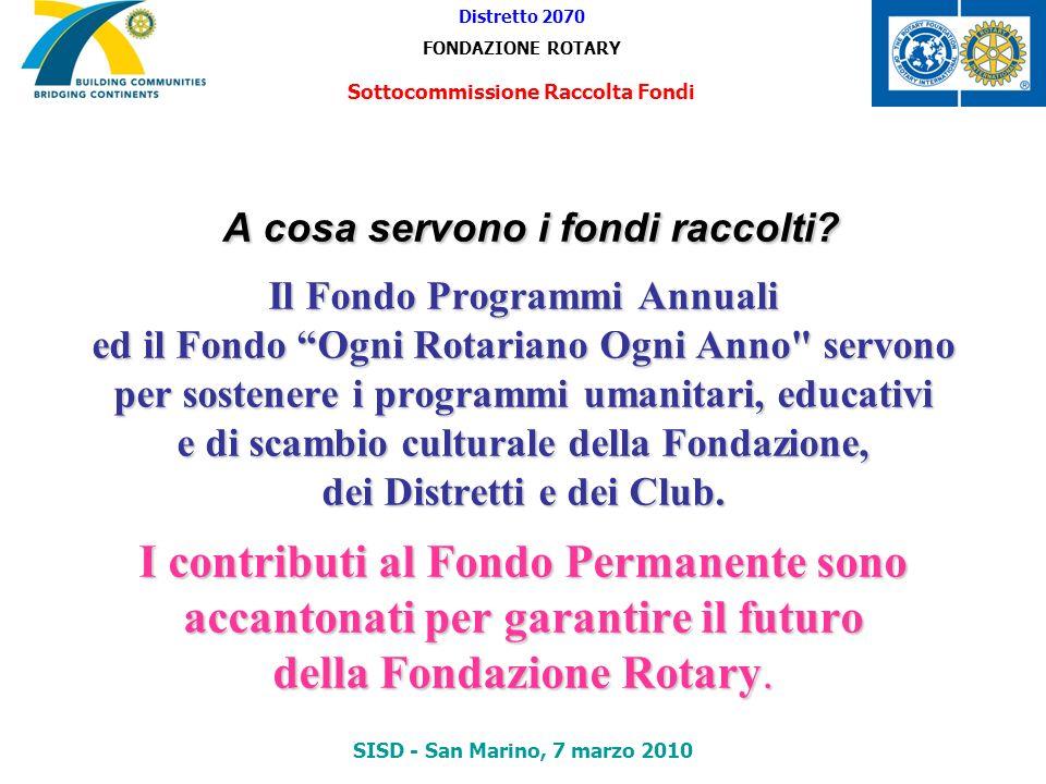 A cosa servono i fondi raccolti? Il Fondo Programmi Annuali ed il Fondo Ogni Rotariano Ogni Anno
