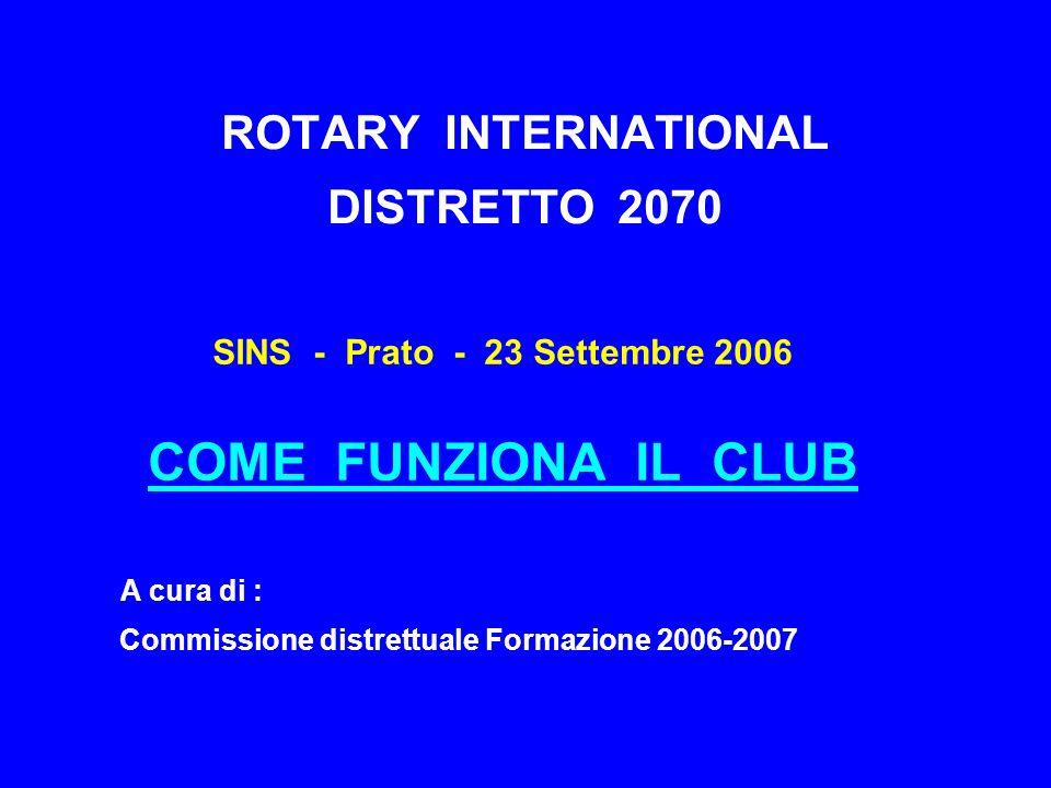 ROTARY INTERNATIONAL DISTRETTO 2070 SINS - Prato - 23 Settembre 2006 COME FUNZIONA IL CLUB A cura di : Commissione distrettuale Formazione 2006-2007