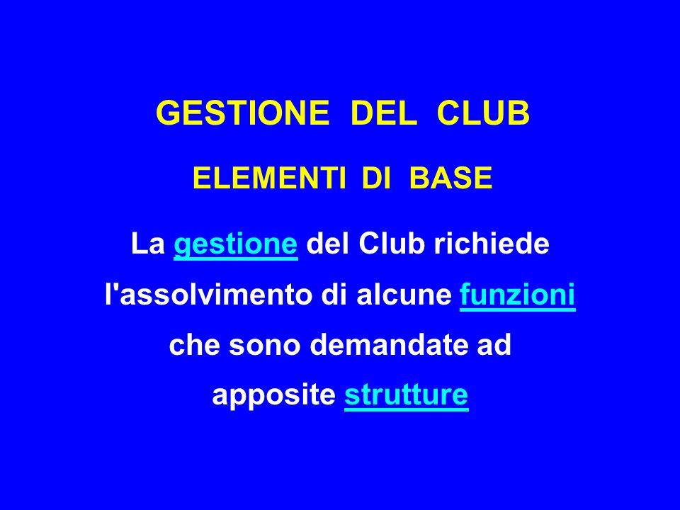 GESTIONE DEL CLUB ELEMENTI DI BASE La gestione del Club richiede l assolvimento di alcune funzioni che sono demandate ad apposite strutture