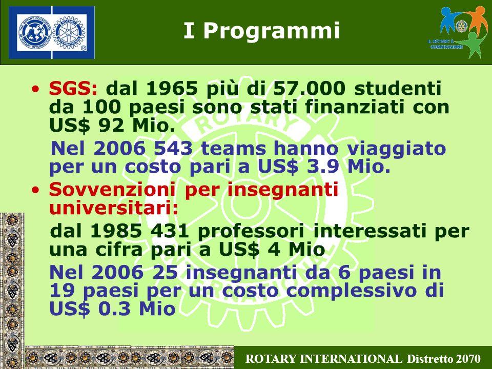 ROTARY INTERNATIONAL Distretto 2070 I Programmi SGS: dal 1965 più di 57.000 studenti da 100 paesi sono stati finanziati con US$ 92 Mio. Nel 2006 543 t