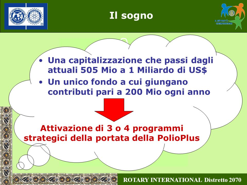 ROTARY INTERNATIONAL Distretto 2070 Il sogno Attivazione di 3 o 4 programmi strategici della portata della PolioPlus Una capitalizzazione che passi da