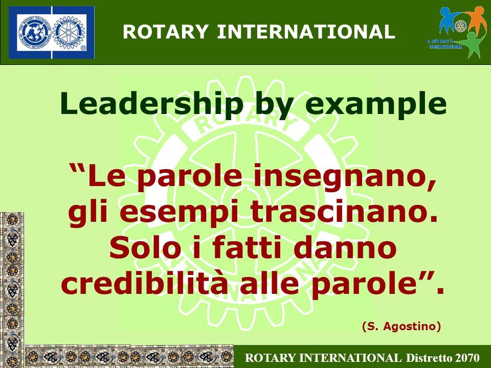 ROTARY INTERNATIONAL Distretto 2070 ROTARY INTERNATIONAL Trasformiamo quindi il nostro sognare, dire, fare Rotariano, in fatti concreti, per dare credibilità al nostro agire.