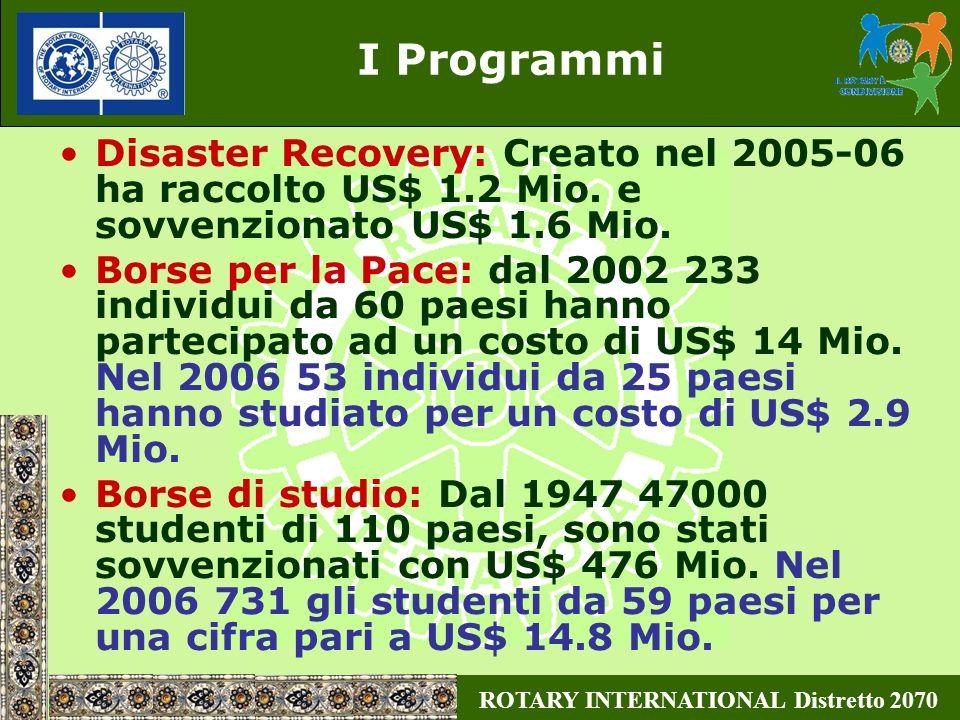 ROTARY INTERNATIONAL Distretto 2070 I Programmi Disaster Recovery: Creato nel 2005-06 ha raccolto US$ 1.2 Mio. e sovvenzionato US$ 1.6 Mio. Borse per