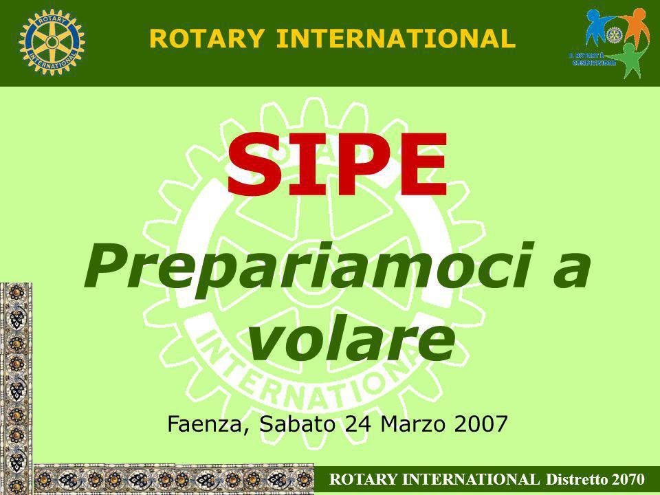 ROTARY INTERNATIONAL Distretto 2070 ROTARY INTERNATIONAL SIPE Prepariamoci a volare Faenza, Sabato 24 Marzo 2007